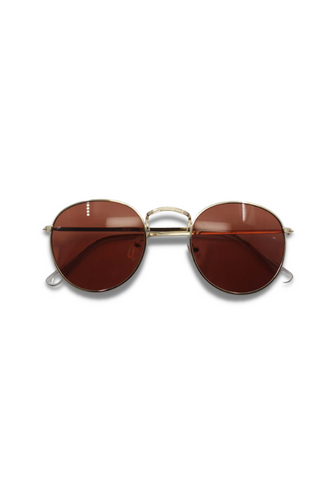 Amy Gold & Brown Round Sunglasses