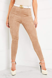 JEN Sand Suede Zip Detail High Waisted Leggings