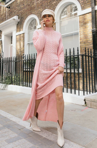 CARLA Pink Maxi Cardigan And Dress Knitted Set