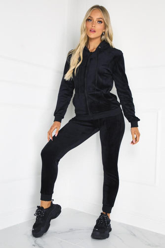 Gabriella Black Velour Hooded Lounge Set Co Ord