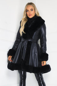 JORDYN Black Faux Fur Black Belted Long Coat