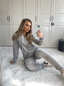 Gabriella Grey Velour Hooded Lounge Set Loungewear