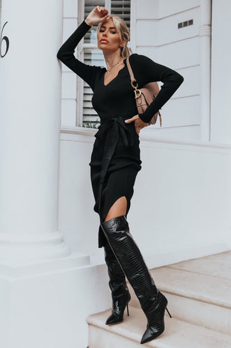 GINA Black Long Sleeve V Neck Ribbed Dress