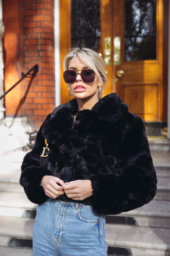 KIM Black Faux Fur Cropped Jacket