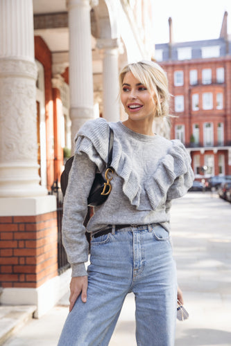 RACHEL Grey Frill Detail Knitted Jumper
