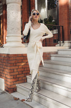 Load image into Gallery viewer, GINA Cream Long Sleeve V Neck Ribbed Dress