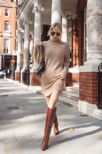 AMBER Camel Turtle Neck Balloon Sleeves Jumper Dress
