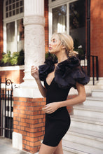 Load image into Gallery viewer, DAISY Black Organza Frill Arm Mini Dress