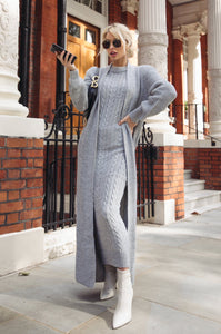 CARLA Grey Maxi Cardigan And Dress Knitted Set