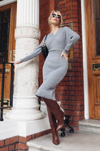 Load image into Gallery viewer, LUCY Grey Surplice Belted Midi Dress