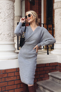 LUCY Grey Surplice Belted Midi Dress