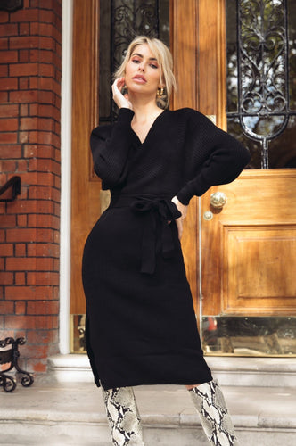 LUCY Black Surplice Belted Midi Dress