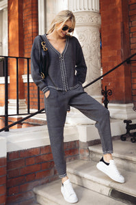 CELINE Charcoal Cream Stitch Knitted Zip Front Loungewear Set