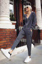 Load image into Gallery viewer, CELINE Charcoal Cream Stitch Knitted Zip Front Loungewear Set