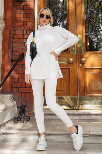 VOGUE Cream Roll Neck Ribbed Leggings Loungewear