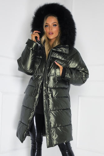 JULIANNA Khaki Faux Fur Long Puffer Coat