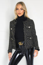 Load image into Gallery viewer, MALIA Black And Gold Tweed Blazer