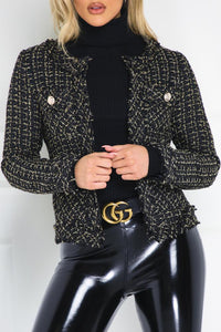 MALIA Black And Gold Tweed Blazer