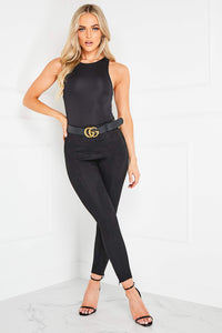 JEN Black Suede Zip Detail High Waisted Leggings