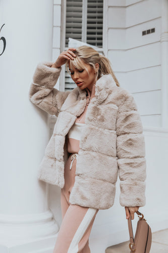 KHLOE Beige Faux Fur High Collar Coat