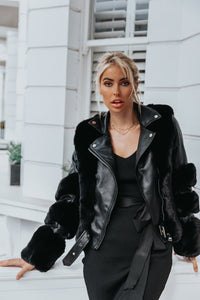 LUNA Black Faux Fur PU Aviator Jacket