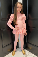 Load image into Gallery viewer, Mini Tilda Powder Pink Puff Sleeve Frill Loungewear Set