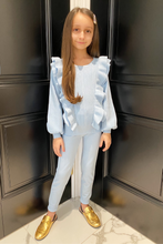Load image into Gallery viewer, Mini Isla Powder Blue Knitted frill front longsleeve loungewear set