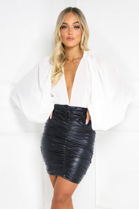 SERENITY Black Faux Leather Ruched Skirt