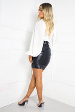 Load image into Gallery viewer, SERENITY Black Faux Leather Ruched Skirt