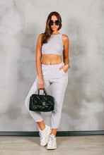 Load image into Gallery viewer, AMARI Grey Scoop Neck Ribbed Cropped Top