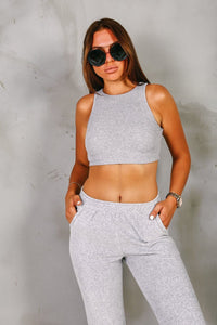 AMARI Grey Scoop Neck Ribbed Cropped Top