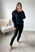 Load image into Gallery viewer, JESSIE Black High Zip Neck Loungewear Set
