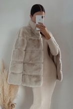 Load image into Gallery viewer, KHLOE Beige Faux Fur High Collar Coat