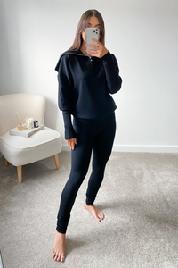 JESSIE Black High Zip Neck Loungewear Set