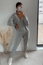 Load image into Gallery viewer, CELINE Grey Cream Stitch Knitted Zip Front Loungewear Set