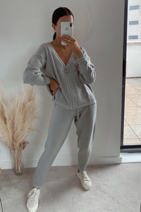 CELINE Grey Cream Stitch Knitted Zip Front Loungewear Set
