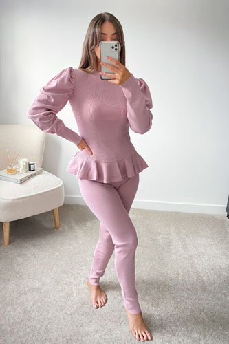 TILDA Pink High Neck Ruffled Waist Loungewear Set