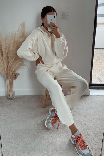 STORMY Cream Hooded Knit Loungewear Set