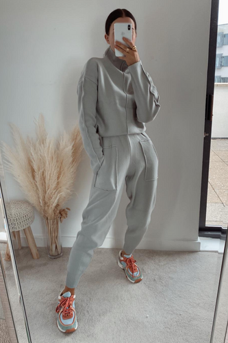 KELSEY Light Grey High Neck Fitted Loungewear