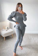 Load image into Gallery viewer, TILDA Grey High Neck Ruffled Waist Loungewear Set