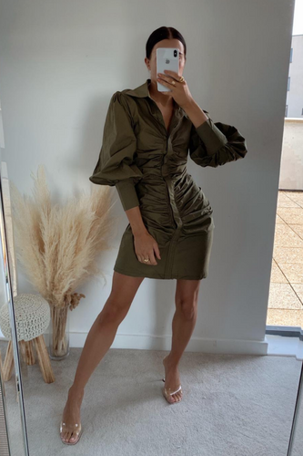 ISABEL Khaki Ruched Front Shirt Dress