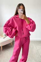 Load image into Gallery viewer, BRIDGETTE Fuchsia Hooded Oversized Rouched Loungewear Set