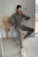 Load image into Gallery viewer, BEAU Grey Frill Detail Buttoned Loungewear Set