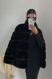 KHLOE Black Faux Fur High Collar Coat