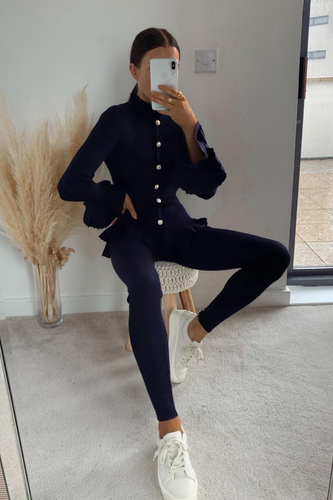 BEAU Navy Frill Detail Buttoned Loungewear Set