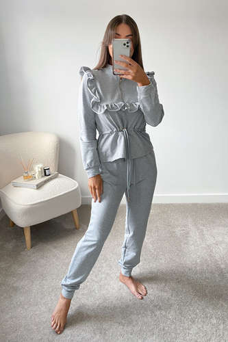 MAYA Grey Frilled Zip Up Loungewear Set