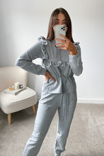 Load image into Gallery viewer, MAYA Grey Frilled Zip Up Loungewear Set