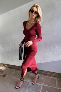 GINA Burgundy Long Sleeve V Neck Ribbed Dress