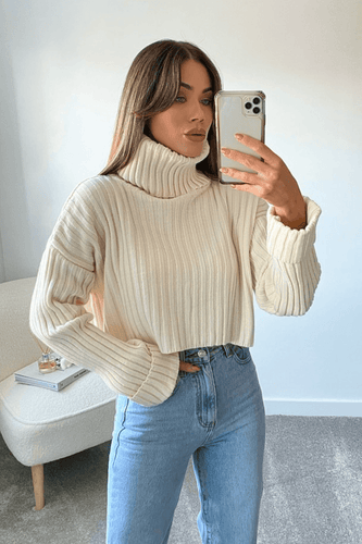 AMANI Cream Cropped Roll Neck Ribbed Jumper