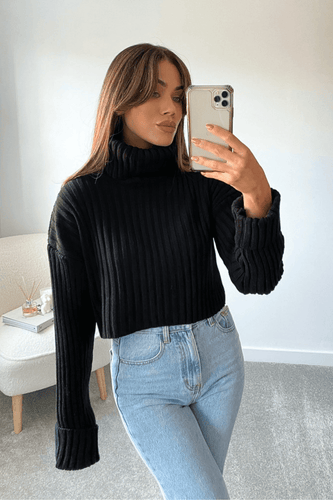 AMANI Black Cropped Roll Neck Ribbed Jumper